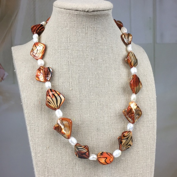 Kaki Jo's Closet Jewelry - Orange Shell Freshwater Pearl Sterling Necklace
